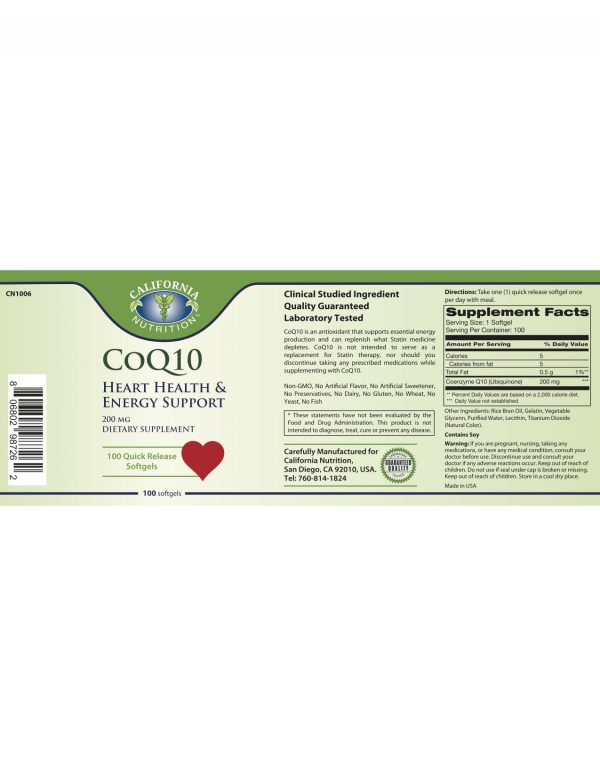 CoQ10 200mg Label